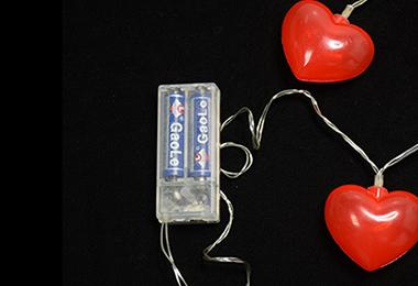 情人节10灯灯串-红心 电池图