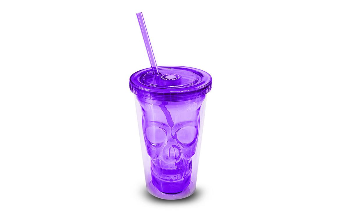 创意发光荧光色双层骷髅头骨吸管杯