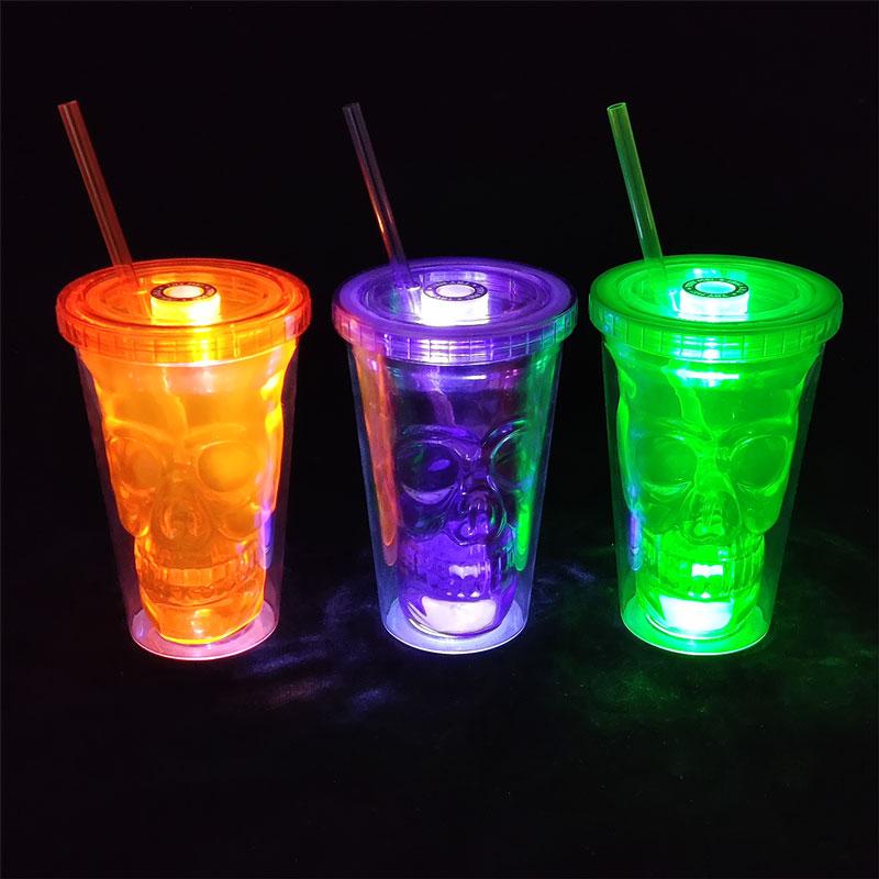 万圣节双层鬼头杯-三色发光