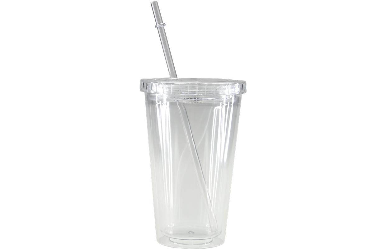 创意简约透明可定制发光双层吸管杯